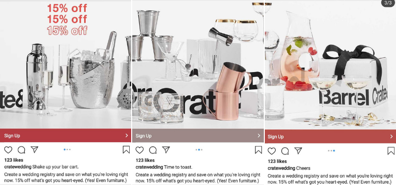 crate-and-barrel-instagram-carousel-ad-example